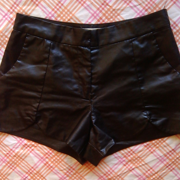 Cotton Candy Pants - Womans Sexy Black Pleather Shorts, NWOT